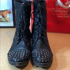 Breckelles Shoes - BRECKELLE'S studded moto military zip boot